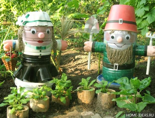Новые поделки для сада своими руками из пластиковых бутылок
