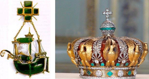 Подвеска испанской работы XVI века в виде каравеллы и корона императрицы Евгении с изумрудами