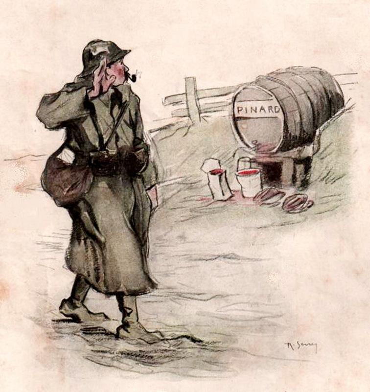 «Пуалю» салютует бочке с пинаром. Открытка 1917 года. pointsadhsblog.wordpress.com - «У нас здесь много вина, мы пьём его как воду…» | Военно-исторический портал Warspot.ru
