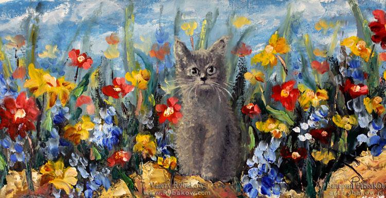 Весенний КОТЕНОК - новая цветочная весенняя живопись маслом на холсте.