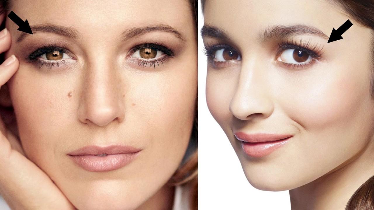 Вот вам пример макияжа с нависшими веками и, как видите, брови необходимо подчеркивать.