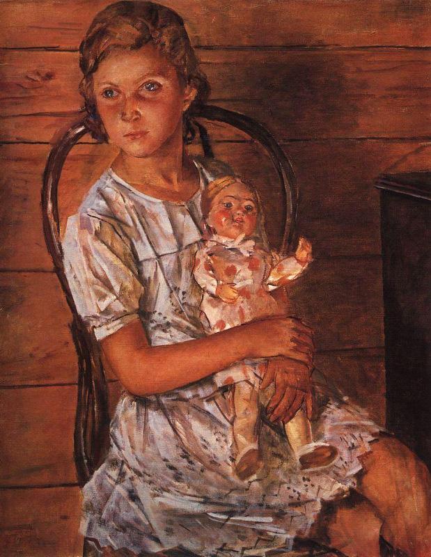Девочка с куклой. Вы удивитесь узнав с кого Петров-Водкин писал эту картину.