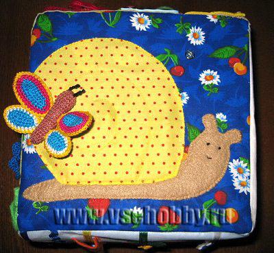 развивающий кубик для ребенка 2 грань улитка и бабочка отстегивающаяся на кнопке