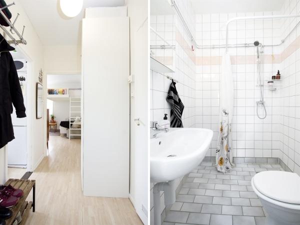 Скандинавский дизайн интерьера однокомнатной квартиры студии