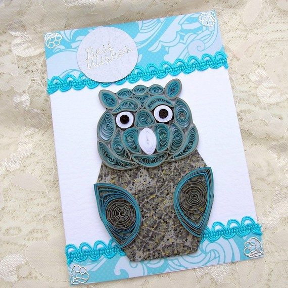 Paper Quilled Grey FABRIC Silver and Blue OWL Handmade Greeting Card by Enchanted Quilling on Etsy