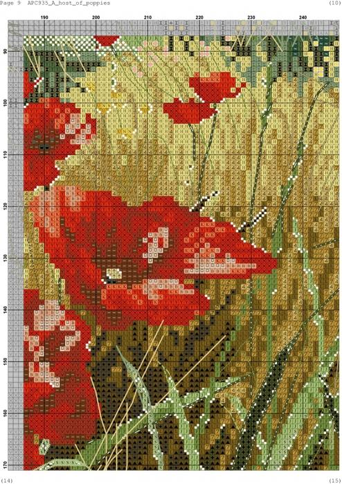 Схема для вышивки бисером маки на поле