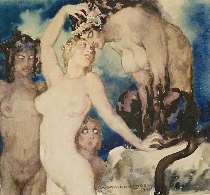 Прелестные нимфы, козлоногие обольстители и демоны в картинах Нормана Линдсея 5
