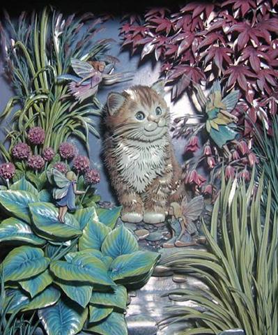 Объемный декупаж маленькая кошка
