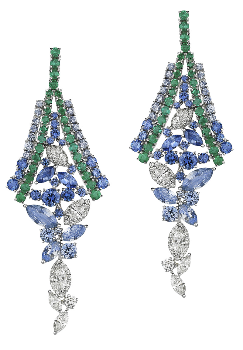Avakian emerald and sapphire earrings