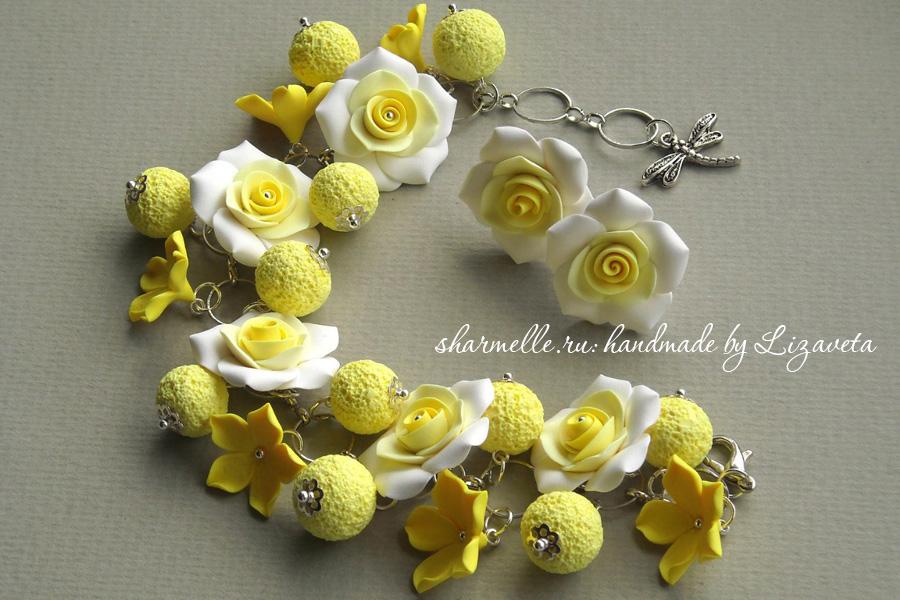 Желтые розы из пластики
