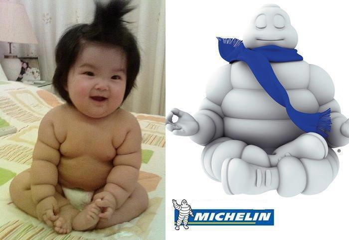 41. Малыш и Человек-Мишлен вещи, люди, похожие лица, схожесть