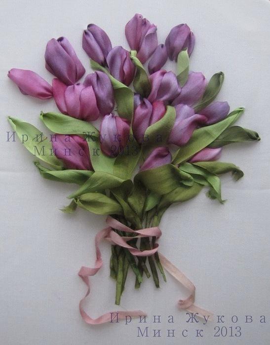 Мастер-класс — вышиваем лентами тюльпаны