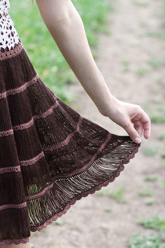 Связать вилкой юбку