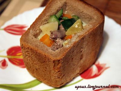 Овощной сливочный суп с сердечками в хлебе