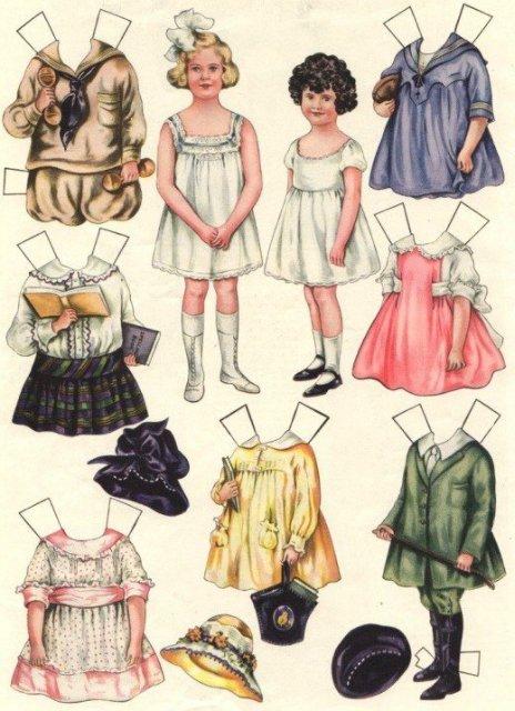 Старинные бумажные куклы