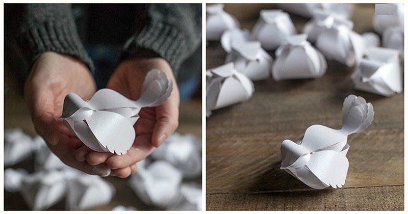 Изящные птички из бумаги своими руками + шаблон