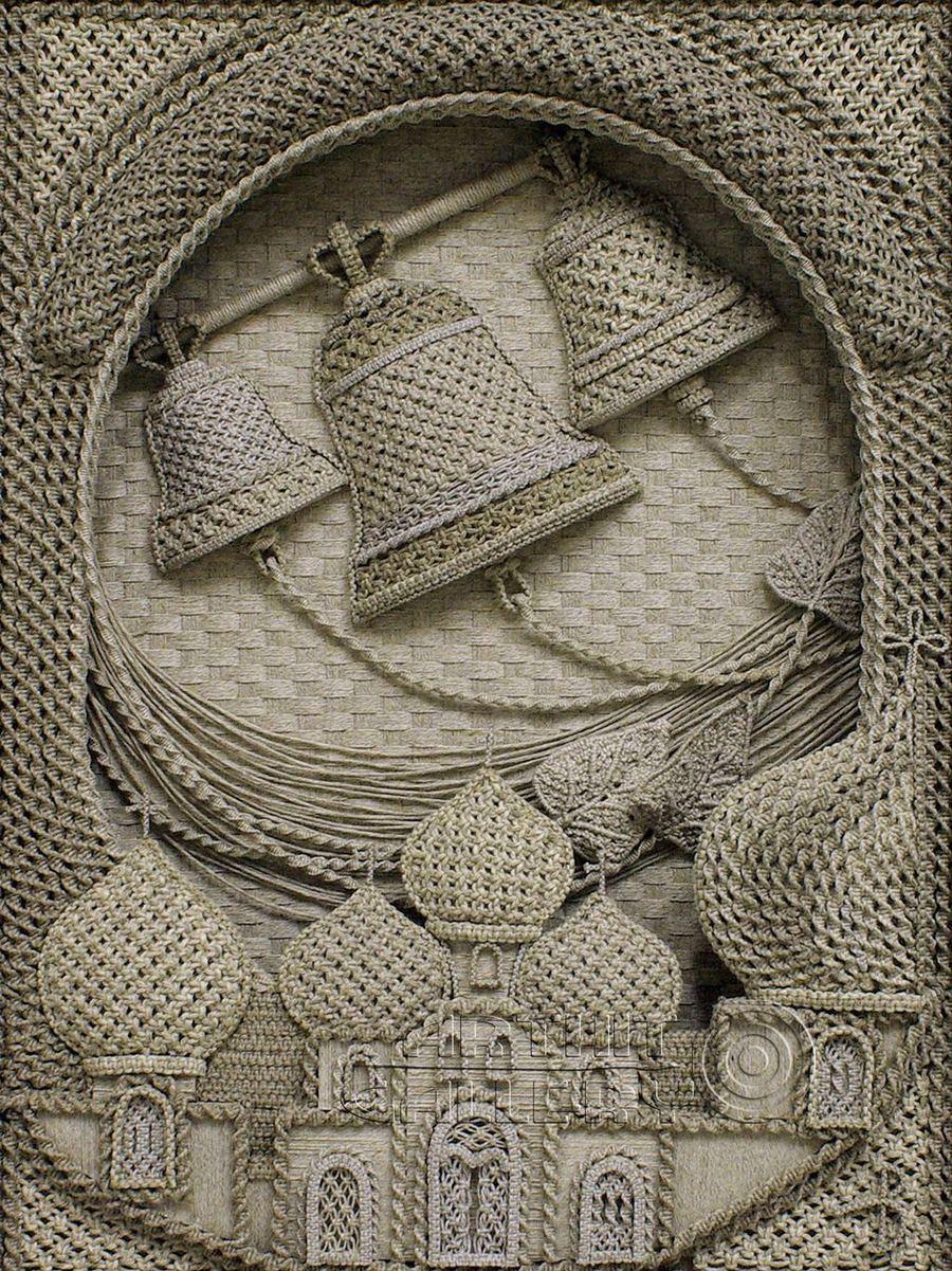Православные иконы из льна от Владимира Денщикова