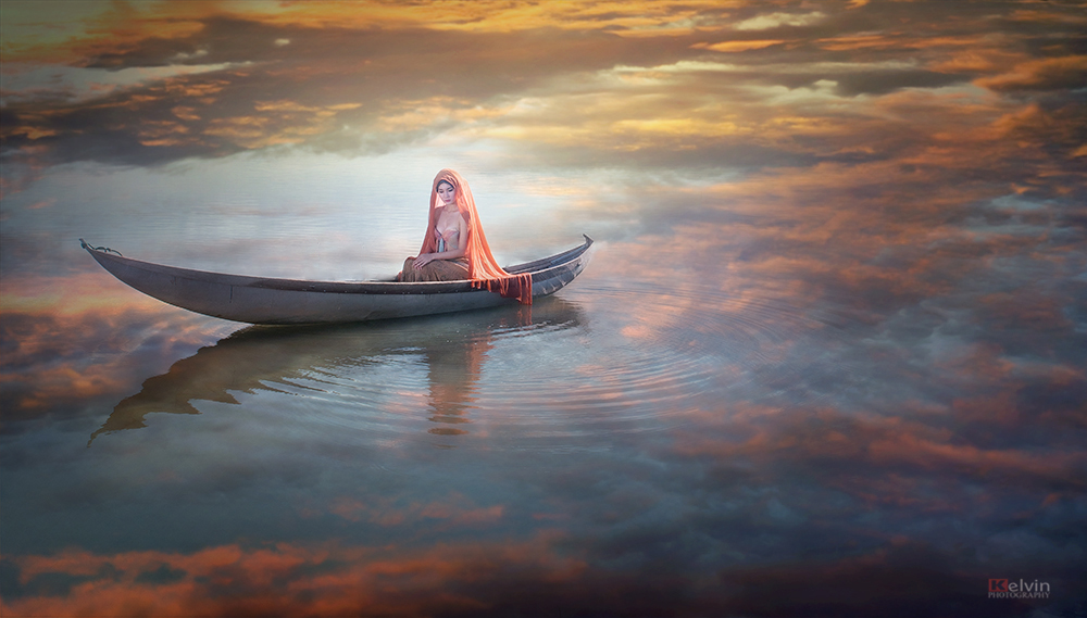 плыть ночью в лодке