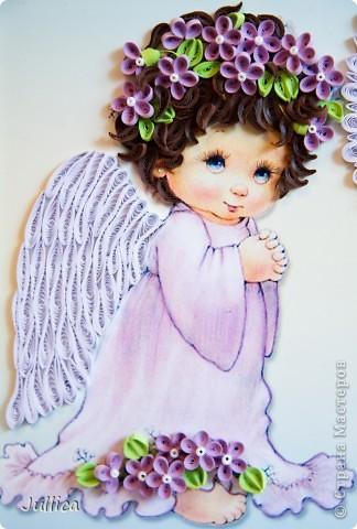 Картина, панно Квиллинг: Ангелочки Бумажные полосы День рождения. Фото 5