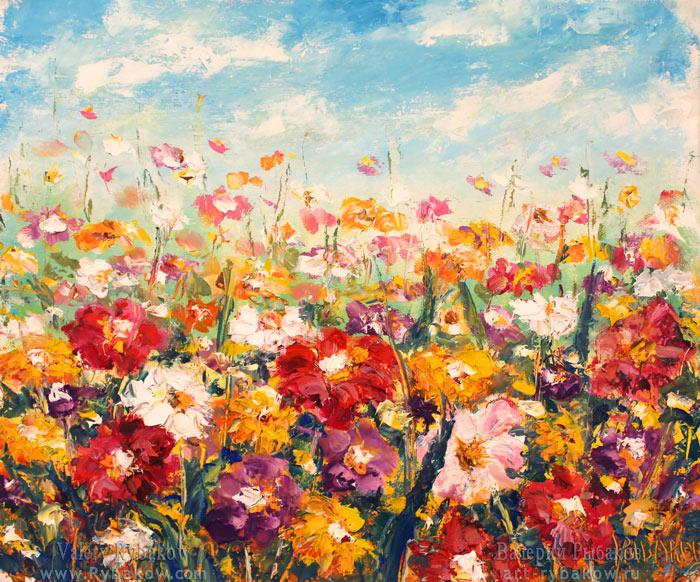 Картина: Цветочное поле в жаркий летний день. Холст, масло, мастихин.