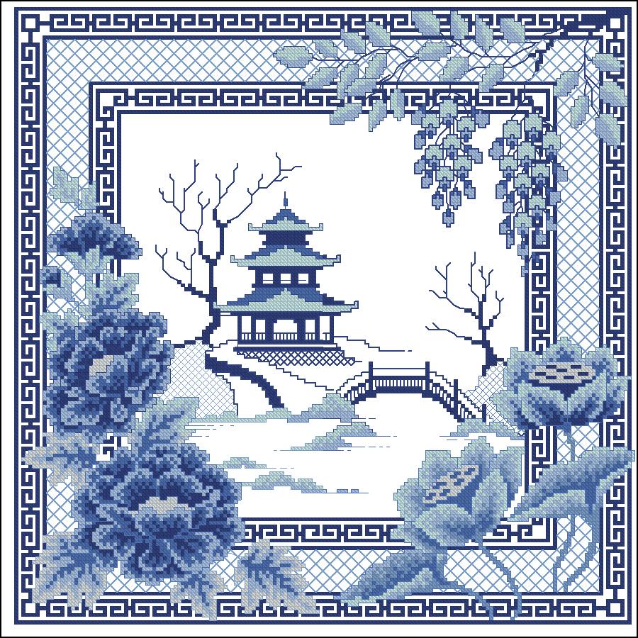 Схема для изумительной вышивки в синих тонах «Пагода»