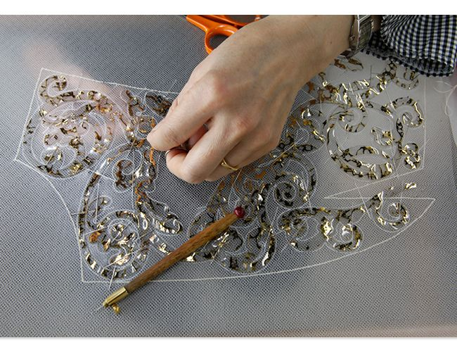 Embroidery for a haute couture dress; fashion atelier; fashion in the making // Chanel: