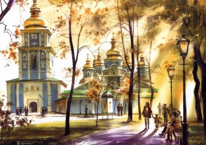 городской пейзаж акварель Сергей Брандт-07