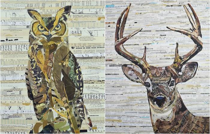 Бумажное искусство — художница создаёт коллажи из старых газет и журналов
