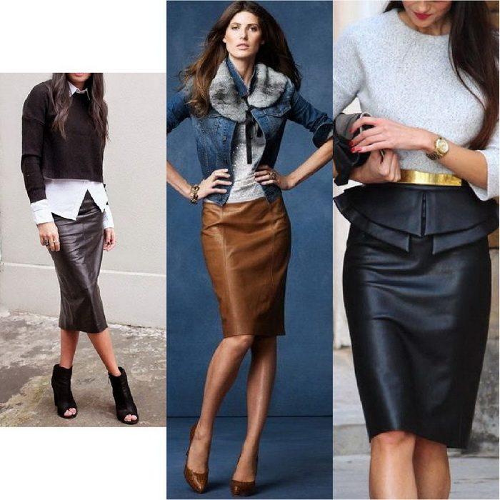 Коженная юбка