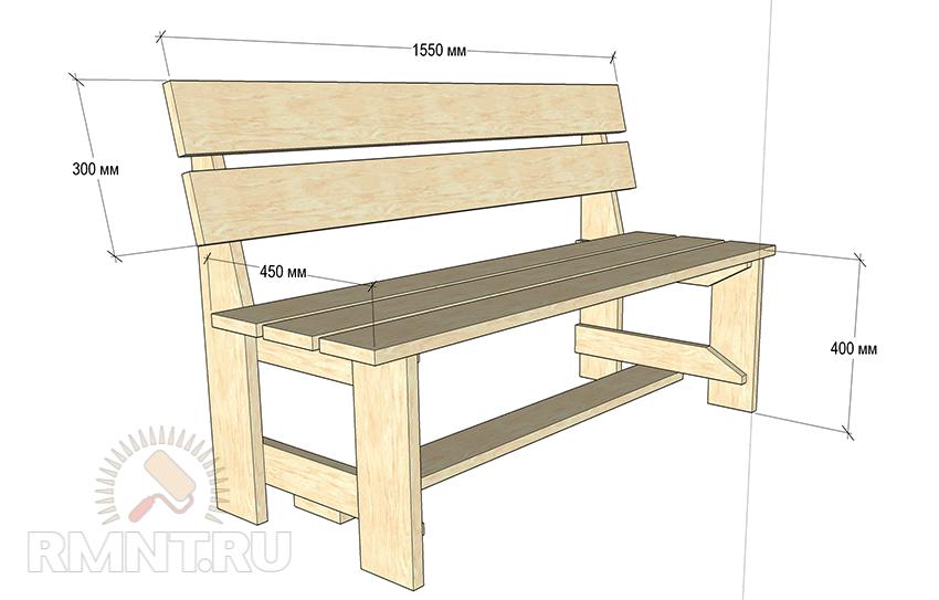 Сделать скамейку со спинкой своими руками с размерами 50
