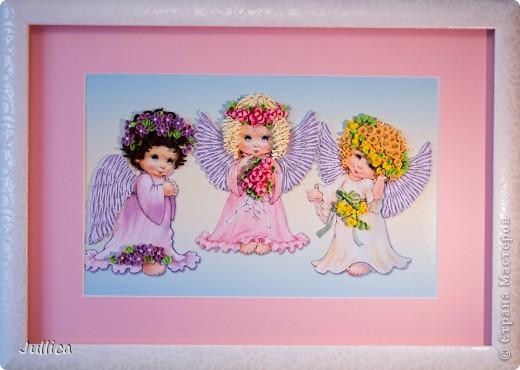 Картина, панно Квиллинг: Ангелочки Бумажные полосы День рождения. Фото 2