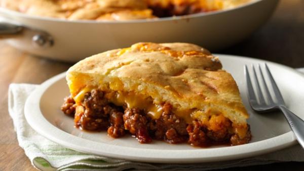 Легкий и быстрый мясной пирог в сковороде для вашего ужина