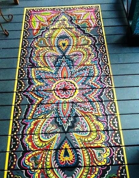 Ручная роспись деревянного пола. Идеи