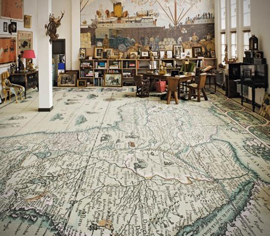 Интересные идеи декора интерьера с помощью географических карт