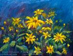 Цветочная картина маслом: «Цветы на ветру возле студии».
