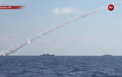 Опубликовано видео удара ВМФ России по ИГ в Сирии