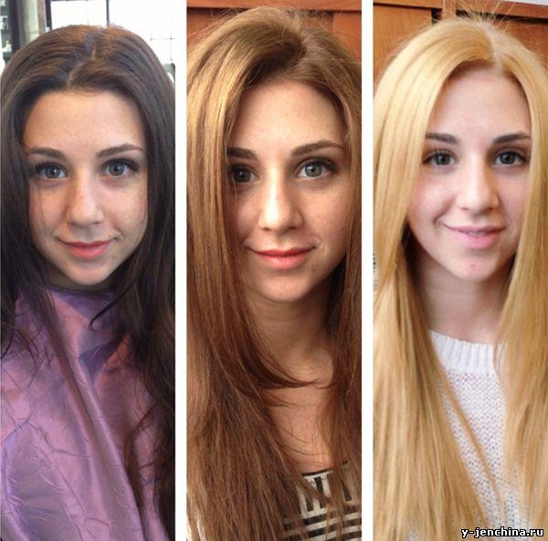 из темно русой в блондинку фото