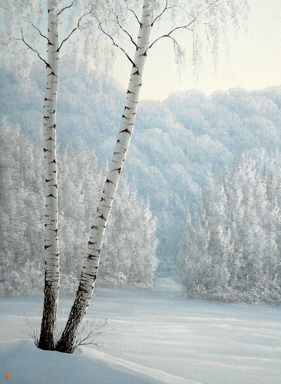 И падал снег, такой пушистый... Художник Сергей Алексеев