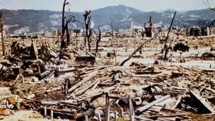 Фото разрушенной Хиросимы из архива войск связи США, сделанное вскоре после взрыва.