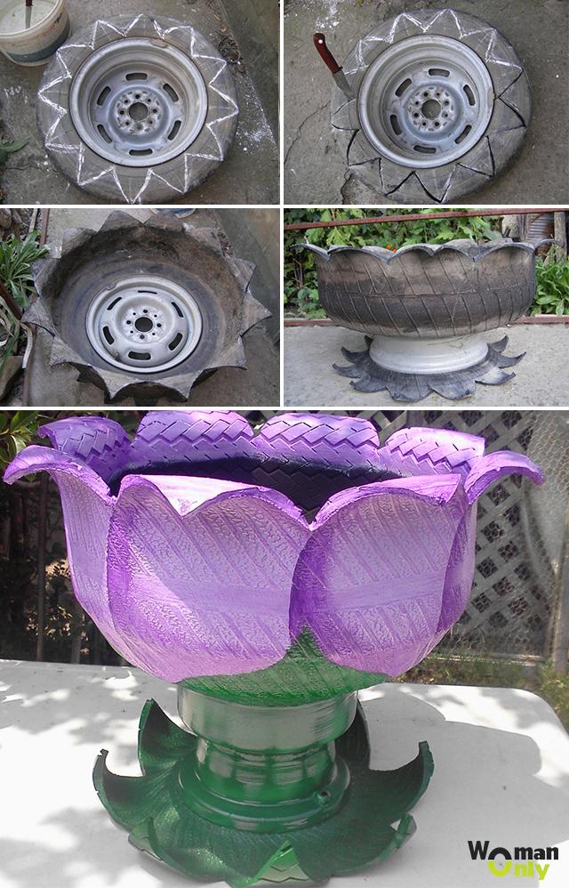 Как сделать из шины цветы