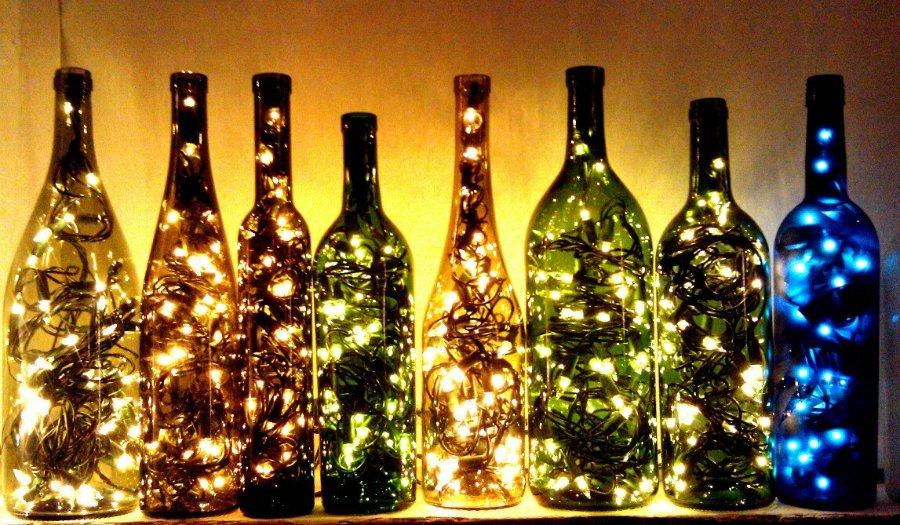Поделки своими руками из стеклянных бутылок фото