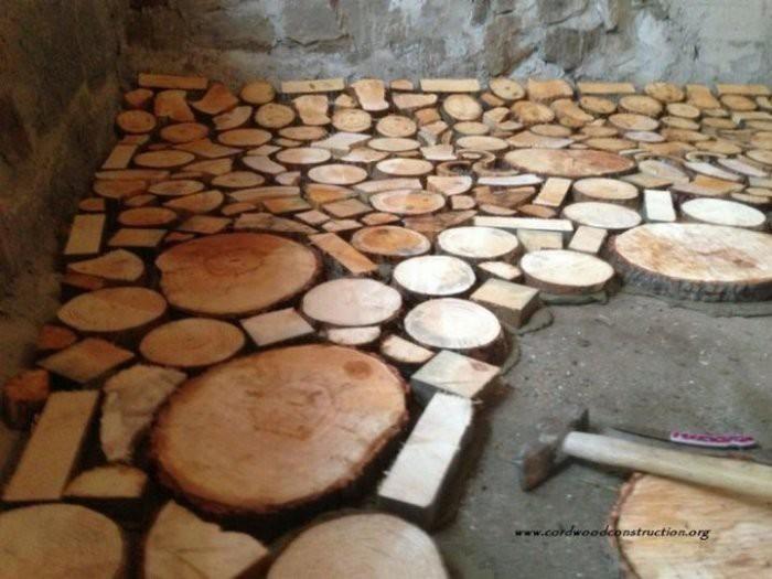 Пол из деревянных дисков