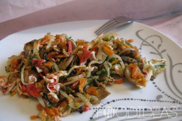 Салат с грибами и крабовыми жареными палочками рецепт