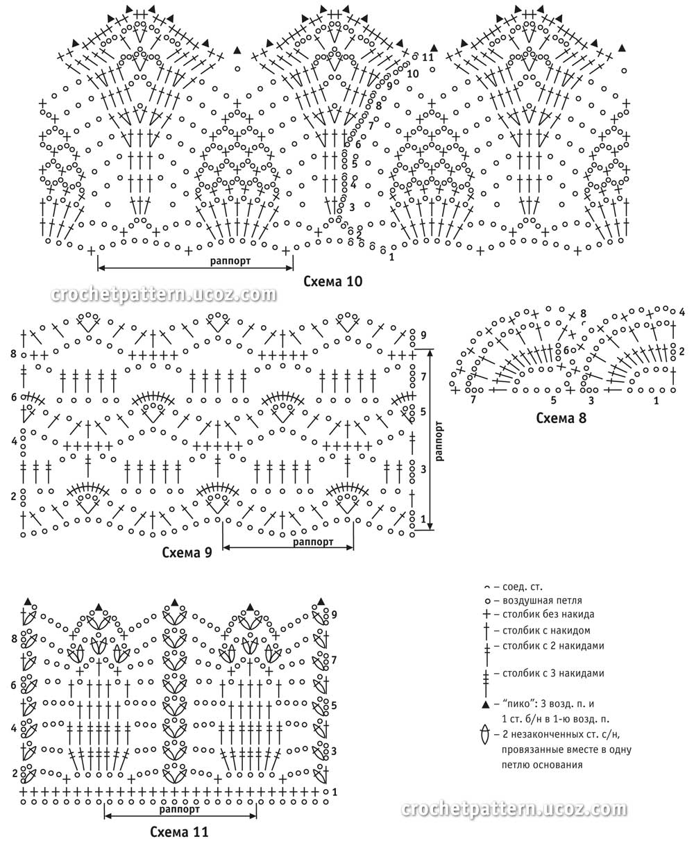 Схемы для вязания изделий крючком схемы