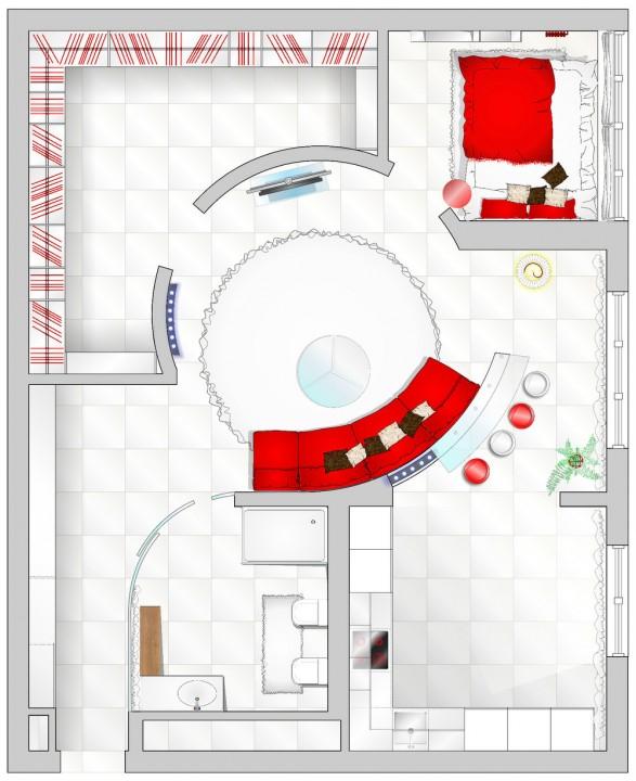Белая квартира с красными акцентами