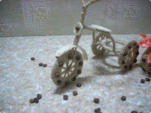 Мастер-класс Педагогический опыт Поделка изделие 8 марта Ассамбляж Моделирование конструирование Шпагатный велосипед МК Кофе Проволока Шпагат фото 14