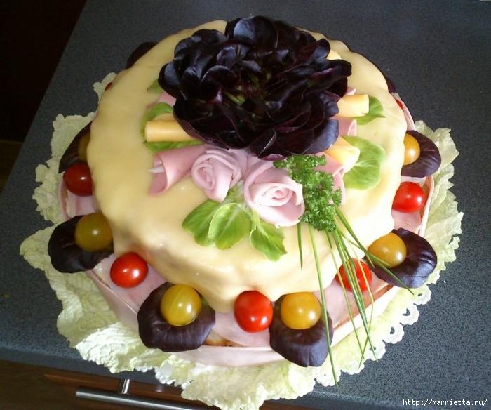 Соленый закусочный торт. Идеи оформления к ПАСХЕ (31) (700x584, 298Kb)