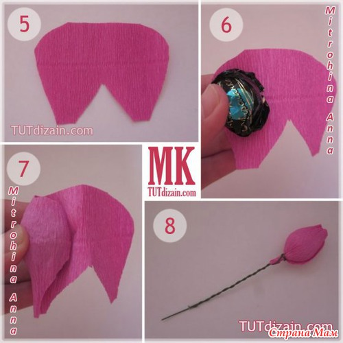 Как сделать розу из гофрированной бумаги розу с конфетой