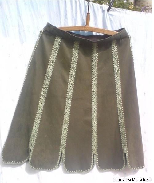 tanita-san: Юбка комбинированная (кожа и вязание)