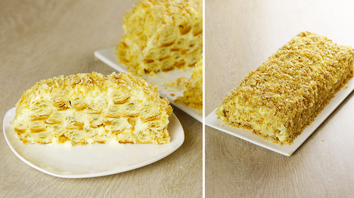 Ленивый «НАПОЛЕОН» Без раскатки коржей! Рецепт торта за 30 минут! Торт, Торт Наполеон, Видео рецепт, Видео, Длиннопост, Десерт, Выпечка, Рецепт